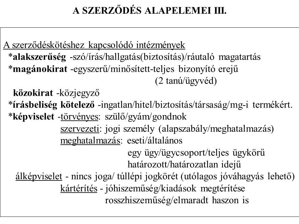A SZERZŐDÉS ALAPELEMEI IV.