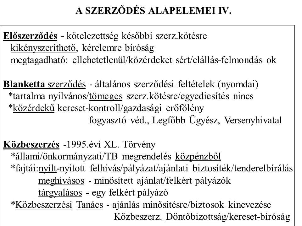 A szerződések alapelemei XV.A szerződés biztosítékai III.