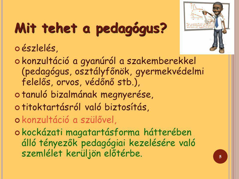 5 Mit tehet a pedagógus? észlelés, konzultáció a gyanúról a szakemberekkel (pedagógus, osztályfőnök, gyermekvédelmi felelős, orvos, védőnő stb.), tanu