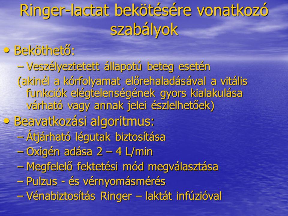 Ringer-lactat bekötésére vonatkozó szabályok • Beköthető: –Veszélyeztetett állapotú beteg esetén (akinél a kórfolyamat előrehaladásával a vitális funk