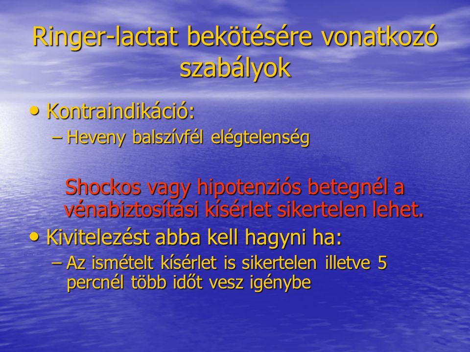 Ringer-lactat bekötésére vonatkozó szabályok • Kontraindikáció: –Heveny balszívfél elégtelenség Shockos vagy hipotenziós betegnél a vénabiztosítási kí