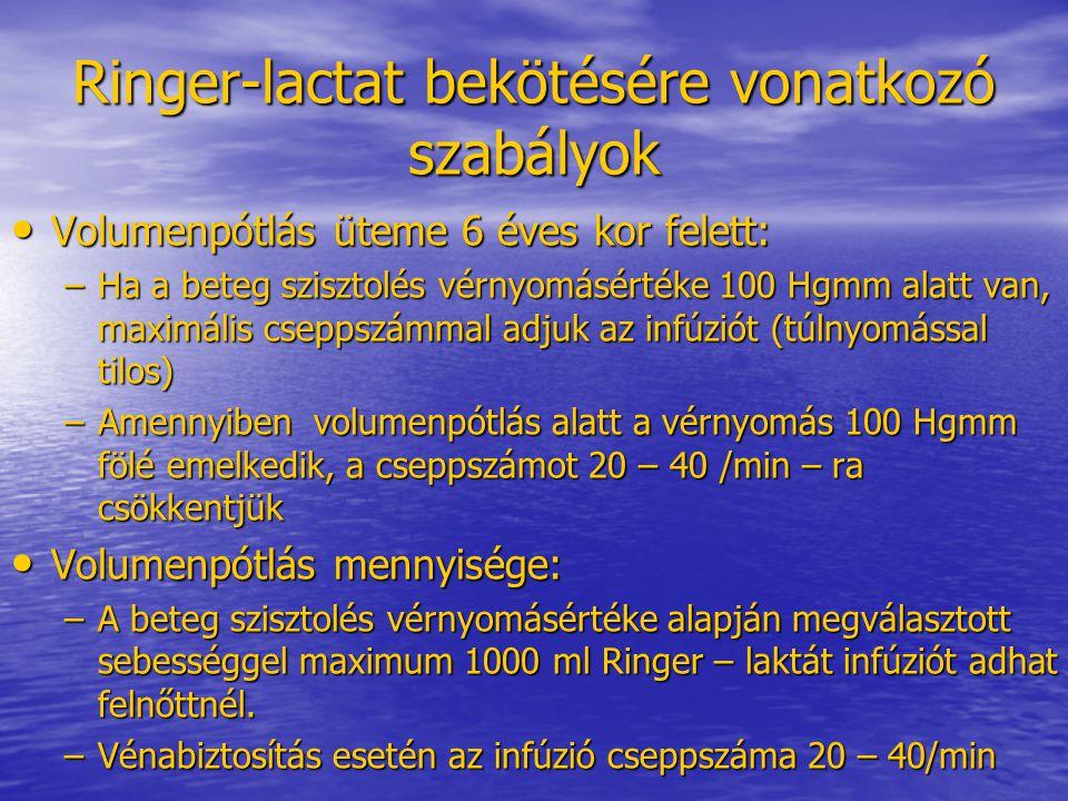 Ringer-lactat bekötésére vonatkozó szabályok • Volumenpótlás üteme 6 éves kor felett: –Ha a beteg szisztolés vérnyomásértéke 100 Hgmm alatt van, maxim