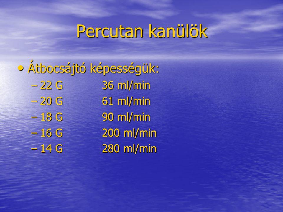 Percutan kanülök • Átbocsájtó képességük: –22 G36 ml/min –20 G61 ml/min –18 G90 ml/min –16 G200 ml/min –14 G280 ml/min