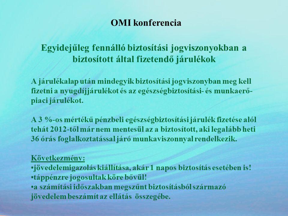 OMI konferencia Egyidejűleg fennálló biztosítási jogviszonyokban a biztosított által fizetendő járulékok A járulékalap után mindegyik biztosítási jogv