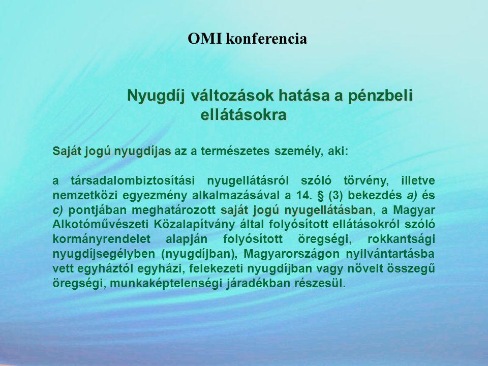 OMI konferencia Nyugdíj változások hatása a pénzbeli ellátásokra Saját jogú nyugdíjas Saját jogú nyugdíjas az a természetes személy, aki: saját jogú n