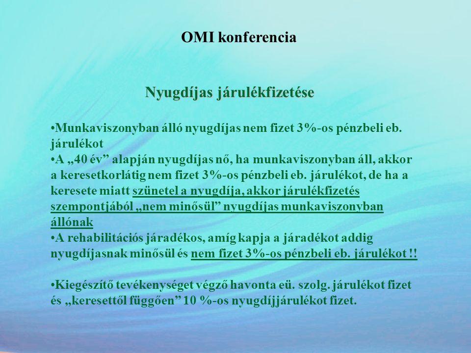 """OMI konferencia Nyugdíjas járulékfizetése •Munkaviszonyban álló nyugdíjas nem fizet 3%-os pénzbeli eb. járulékot •A """"40 év"""" alapján nyugdíjas nő, ha m"""