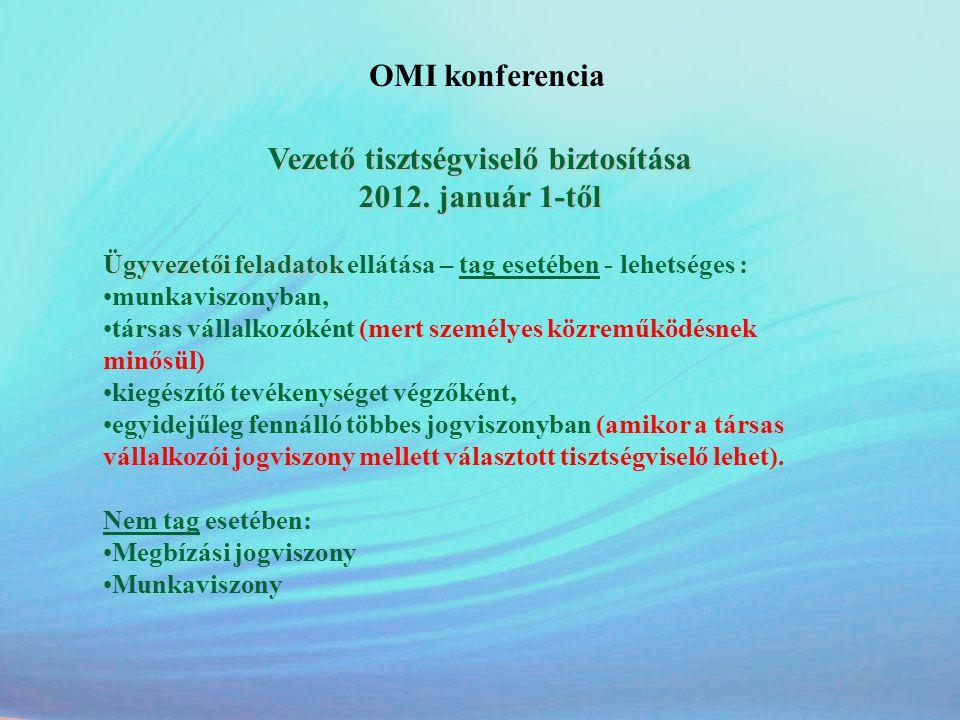OMI konferencia Vezető tisztségviselő biztosítása 2012. január 1-től Ügyvezetői feladatok Ügyvezetői feladatok ellátása – tag esetében - lehetséges :