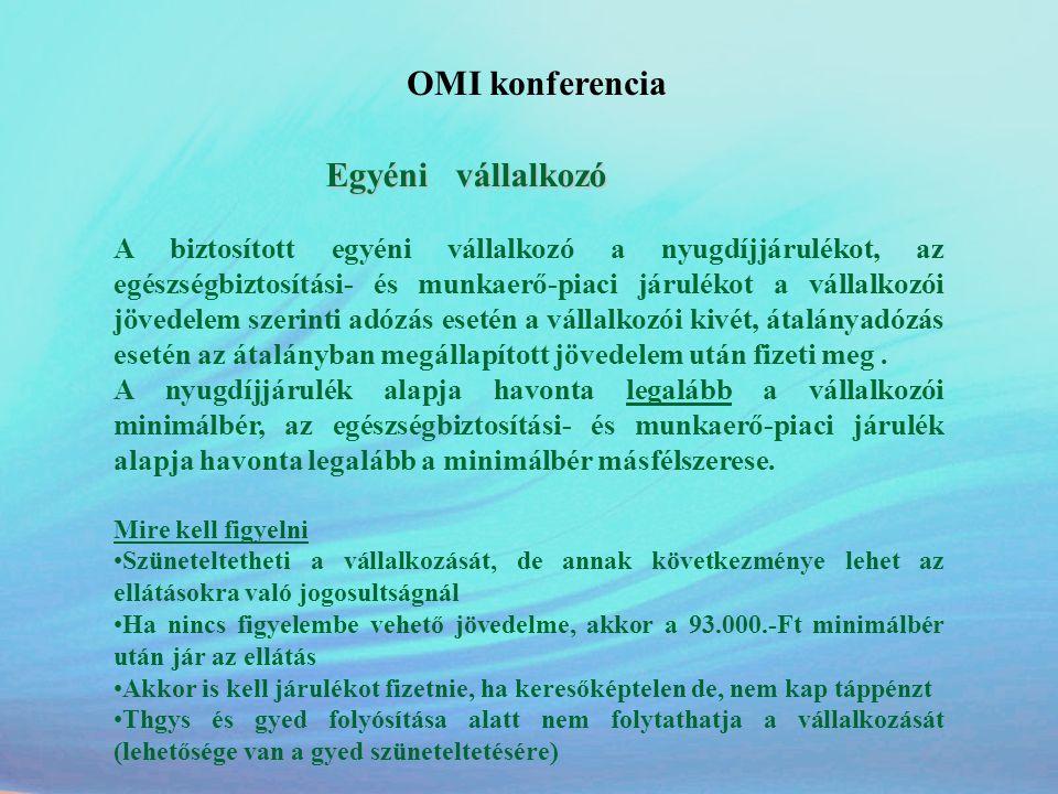 OMI konferencia Egyéni vállalkozó A biztosított egyéni vállalkozó a nyugdíjjárulékot, az egészségbiztosítási- és munkaerő-piaci járulékot a vállalkozó