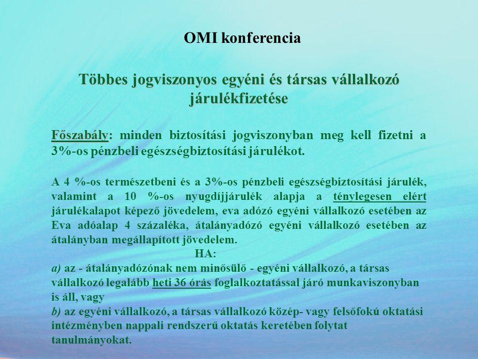 OMI konferencia Többes jogviszonyos egyéni és társas vállalkozó járulékfizetése Főszabály: Főszabály: minden biztosítási jogviszonyban meg kell fizetn