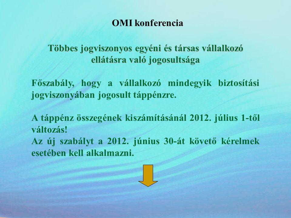 OMI konferencia Többes jogviszonyos egyéni és társas vállalkozó ellátásra való jogosultsága Főszabály, hogy a vállalkozó mindegyik biztosítási jogvisz