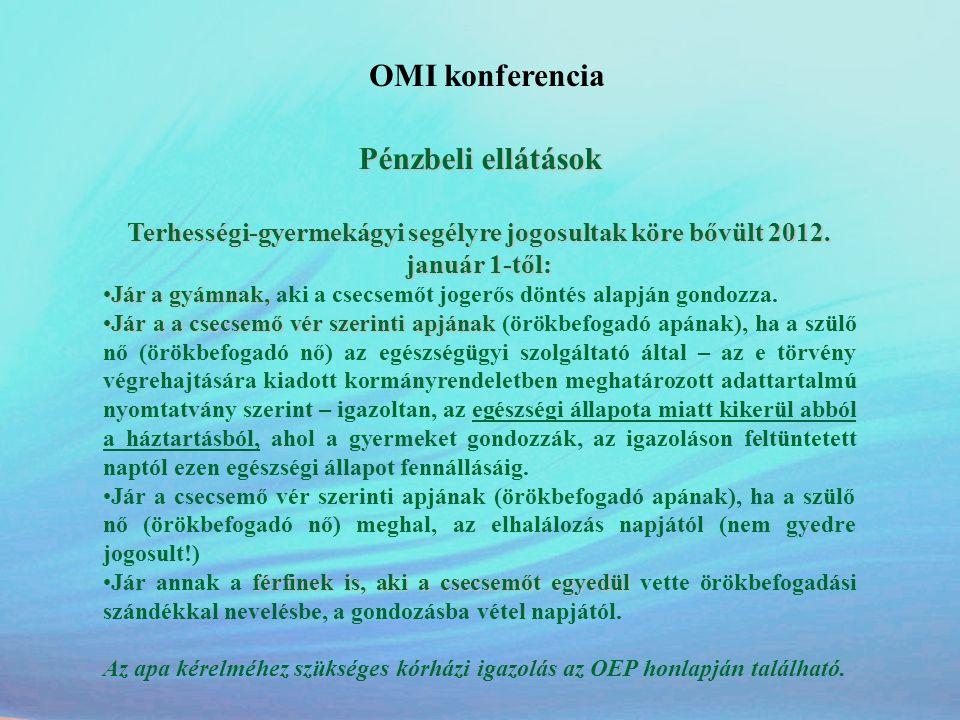 OMI konferencia Pénzbeli ellátások Terhességi-gyermekágyi segélyre jogosultak köre bővült 2012. január 1-től: •Jár a gyámnak, •Jár a gyámnak, aki a cs