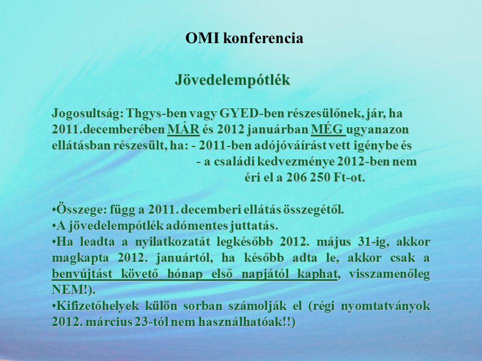 OMI konferencia Jövedelempótlék Jövedelempótlék Jogosultság: Thgys-ben vagy GYED-ben részesülőnek, jár, ha 2011.decemberében MÁR és 2012 januárban MÉG