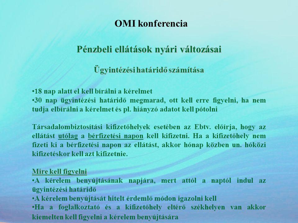 OMI konferencia Pénzbeli ellátások nyári változásai Ügyintézési határidő számítása •18 nap alatt el kell bírálni a kérelmet •30 nap ügyintézési határi