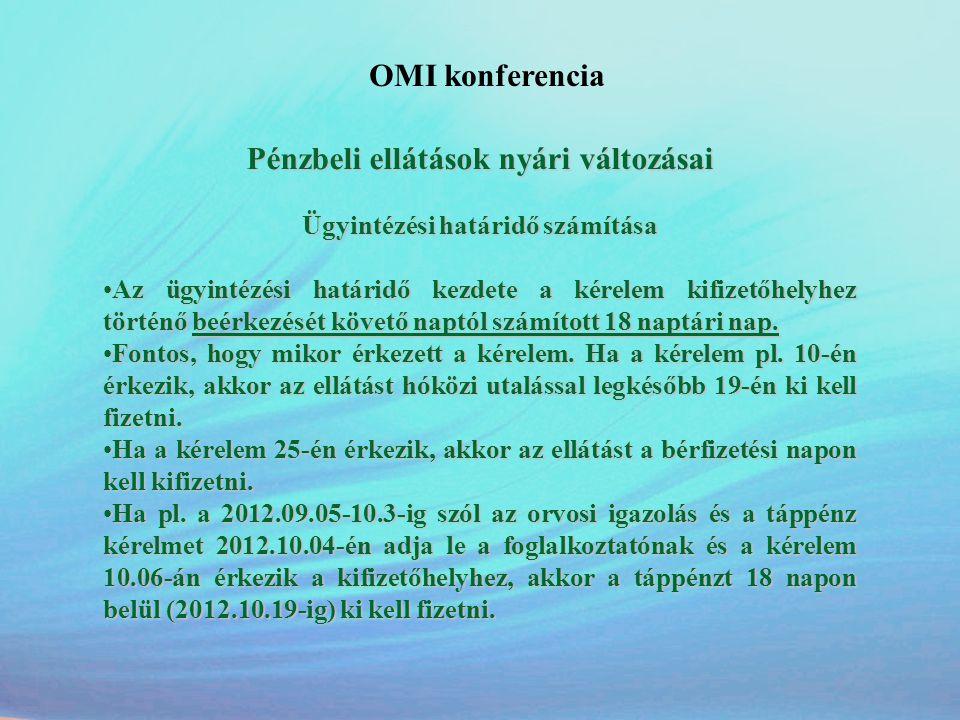 OMI konferencia Pénzbeli ellátások nyári változásai Ügyintézési határidő számítása •Az ügyintézési határidő kezdete a kérelem kifizetőhelyhez történő