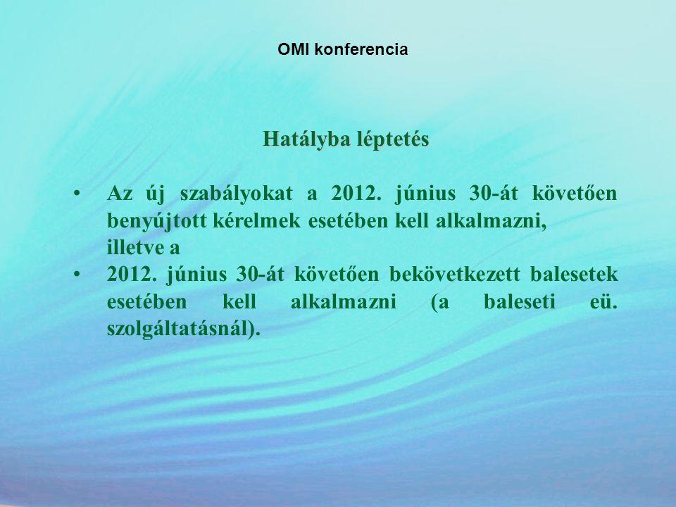 OMI konferencia Hatályba léptetés •Az új szabályokat a 2012. június 30-át követően benyújtott kérelmek esetében kell alkalmazni, illetve a •2012. júni