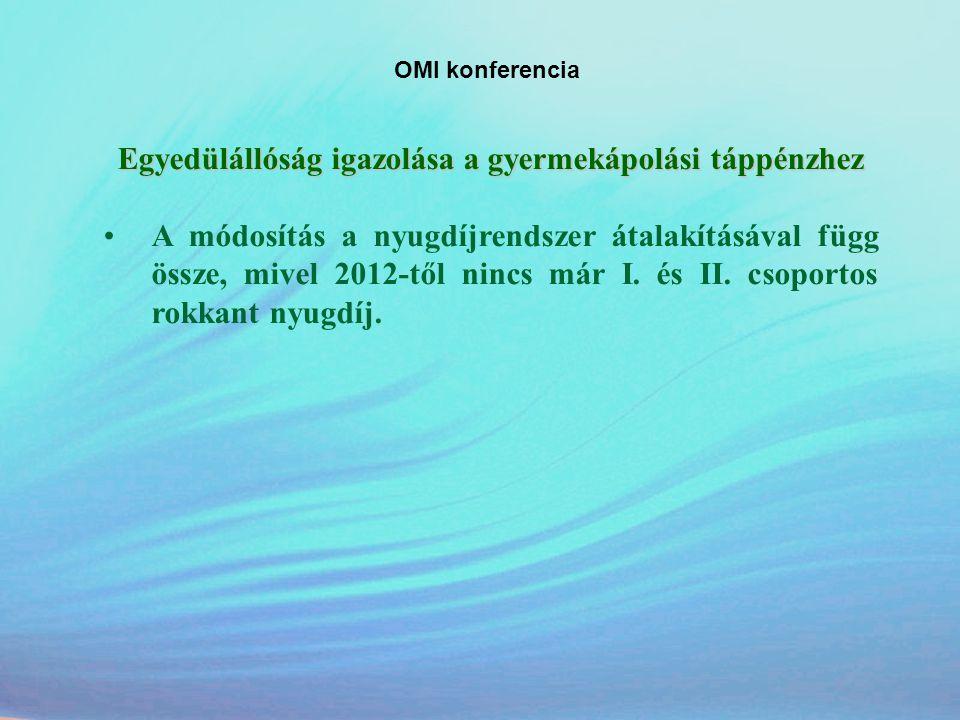 OMI konferencia Egyedülállóság igazolása a gyermekápolási táppénzhez •A módosítás a nyugdíjrendszer átalakításával függ össze, mivel 2012-től nincs má