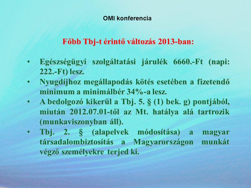 OMI konferencia Főbb Tbj-t érintő változás 2013-ban: •Egészségügyi szolgáltatási járulék 6660.-Ft (napi: 222.-Ft) lesz. •Nyugdíjhoz megállapodás kötés