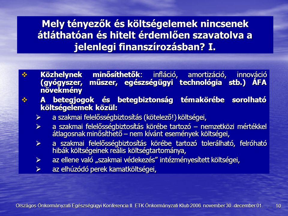 10 Országos Önkormányzati Egészségügyi Konferencia II. ETK Önkormányzati Klub 2006. november 30.-december 01.... Mely tényezők és költségelemek nincse