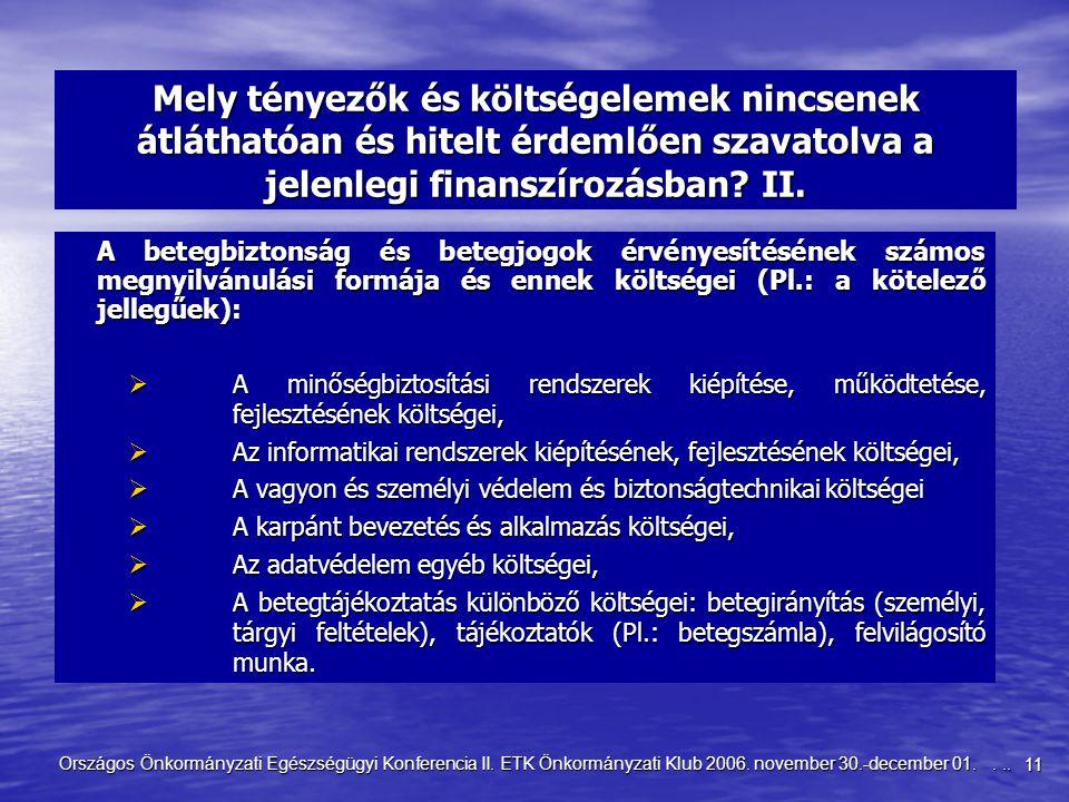 11 Országos Önkormányzati Egészségügyi Konferencia II. ETK Önkormányzati Klub 2006. november 30.-december 01.... Mely tényezők és költségelemek nincse
