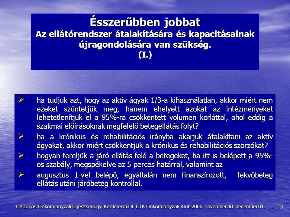 13 Országos Önkormányzati Egészségügyi Konferencia II. ETK Önkormányzati Klub 2006. november 30.-december 01.... Ésszerűbben jobbat Az ellátórendszer