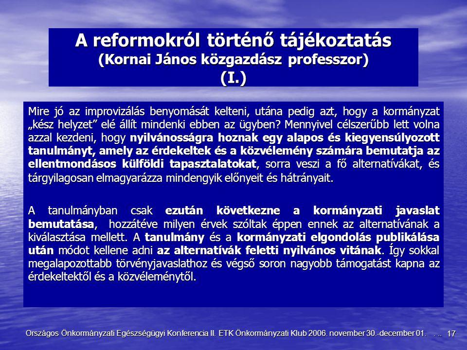 17 Országos Önkormányzati Egészségügyi Konferencia II. ETK Önkormányzati Klub 2006. november 30.-december 01.... A reformokról történő tájékoztatás (K