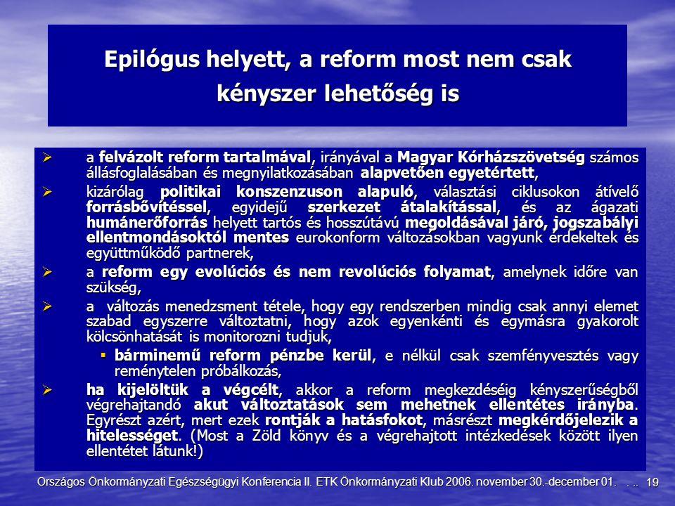 19 Országos Önkormányzati Egészségügyi Konferencia II. ETK Önkormányzati Klub 2006. november 30.-december 01.... Epilógus helyett, a reform most nem c