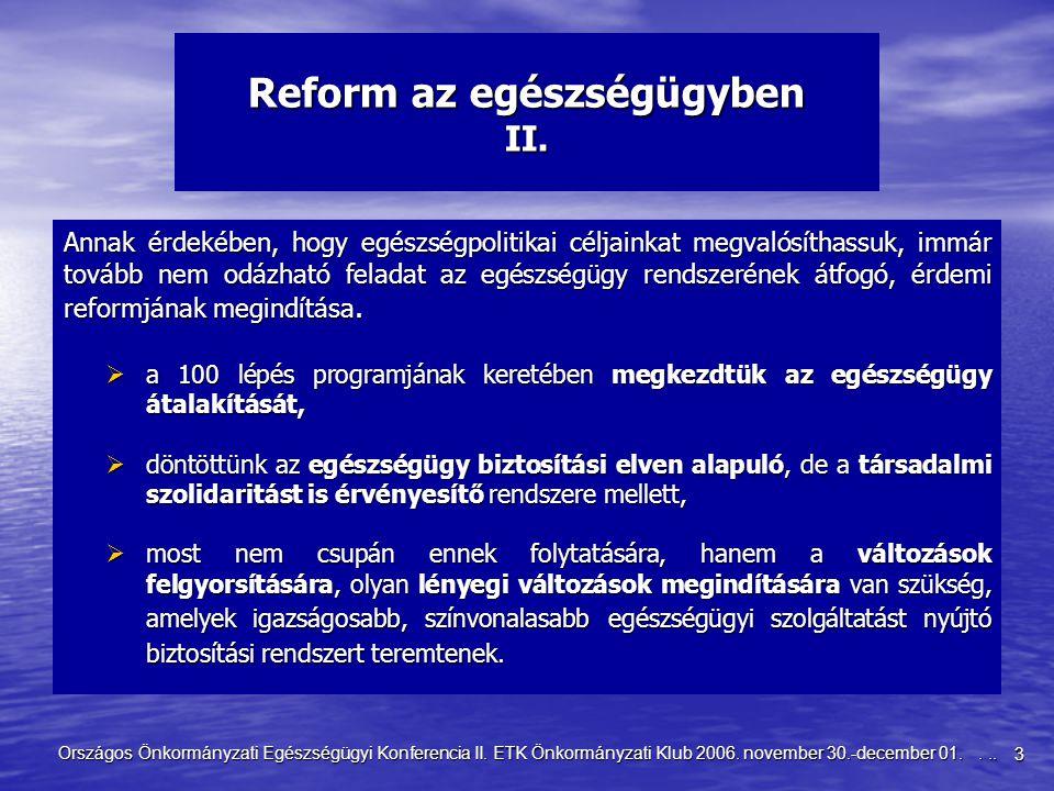 3 Országos Önkormányzati Egészségügyi Konferencia II. ETK Önkormányzati Klub 2006. november 30.-december 01.... Reform az egészségügyben II. Annak érd