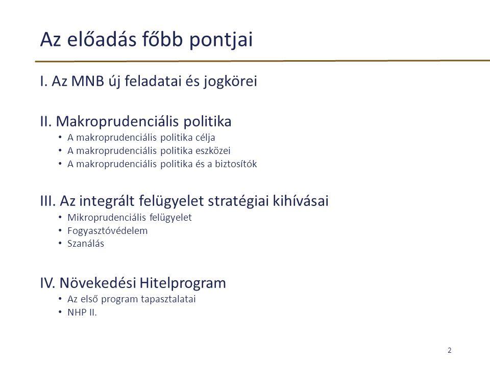 Az előadás főbb pontjai I. Az MNB új feladatai és jogkörei II. Makroprudenciális politika • A makroprudenciális politika célja • A makroprudenciális p