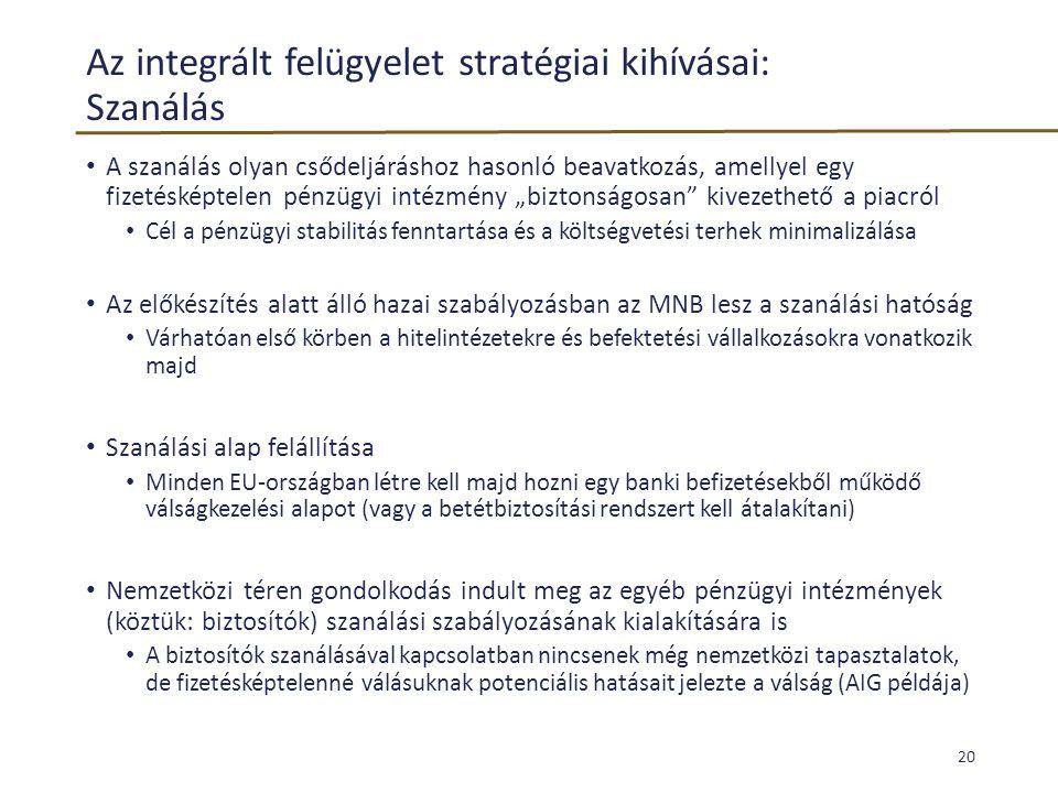 Az integrált felügyelet stratégiai kihívásai: Szanálás • A szanálás olyan csődeljáráshoz hasonló beavatkozás, amellyel egy fizetésképtelen pénzügyi in