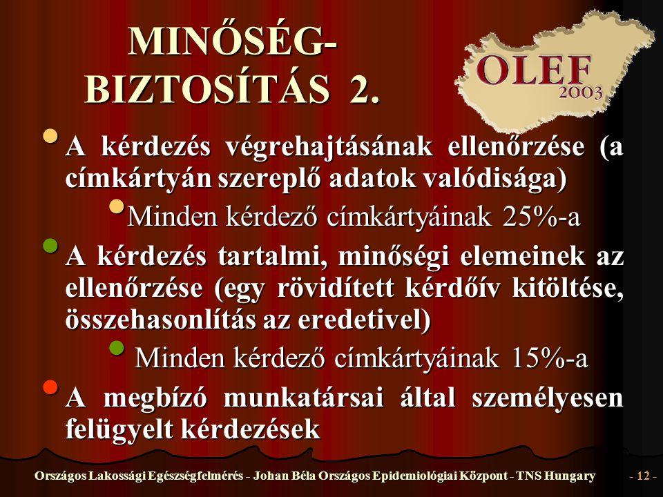 Országos Lakossági Egészségfelmérés - Johan Béla Országos Epidemiológiai Központ - TNS Hungary- 12 - MINŐSÉG- BIZTOSÍTÁS 2. • A • A kérdezés végrehajt