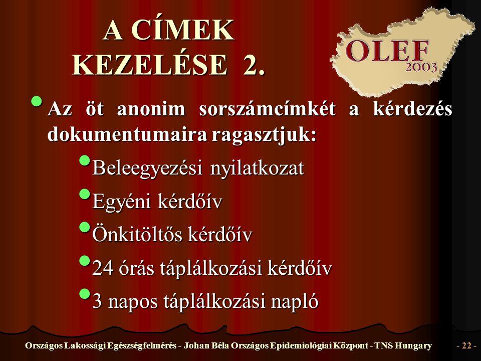 Országos Lakossági Egészségfelmérés - Johan Béla Országos Epidemiológiai Központ - TNS Hungary- 22 - A CÍMEK KEZELÉSE 2. • Az • Az öt anonim sorszámcí