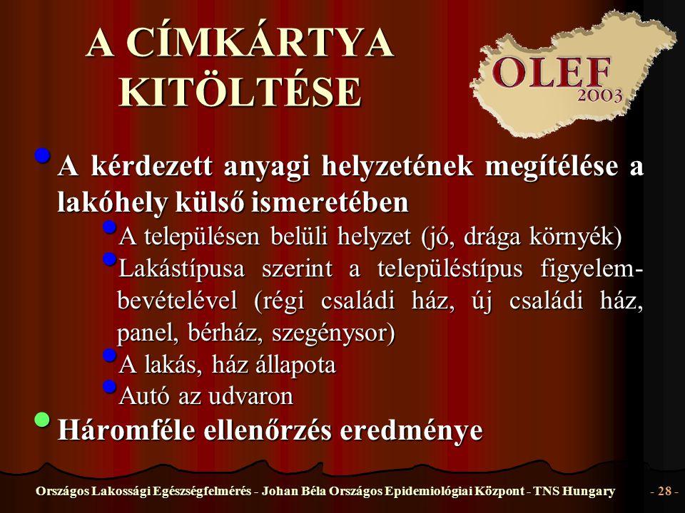 Országos Lakossági Egészségfelmérés - Johan Béla Országos Epidemiológiai Központ - TNS Hungary- 28 - A CÍMKÁRTYA KITÖLTÉSE • A kérdezett anyagi helyze