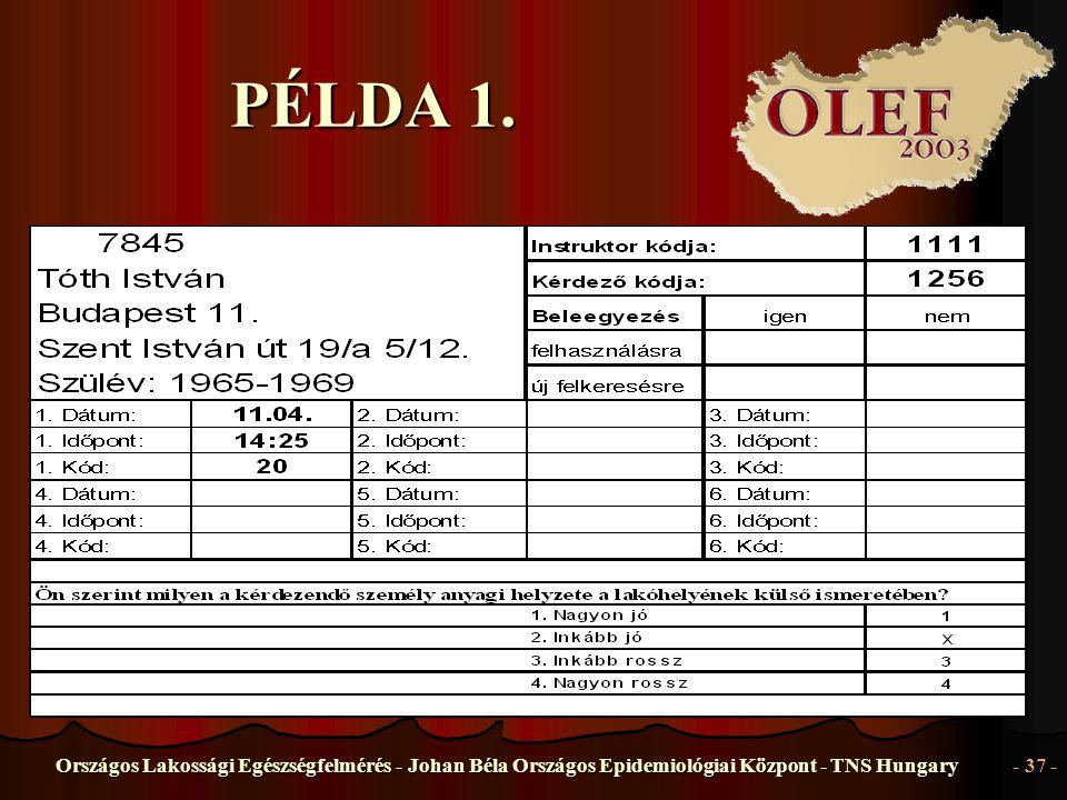 Országos Lakossági Egészségfelmérés - Johan Béla Országos Epidemiológiai Központ - TNS Hungary- 37 - PÉLDA 1.