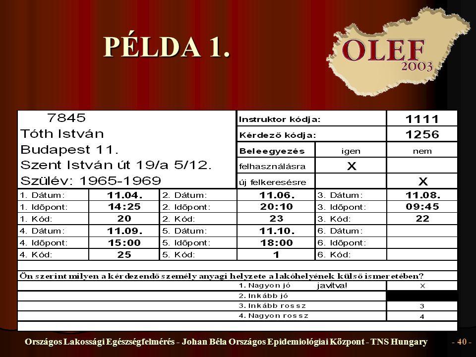 Országos Lakossági Egészségfelmérés - Johan Béla Országos Epidemiológiai Központ - TNS Hungary- 40 - PÉLDA 1.