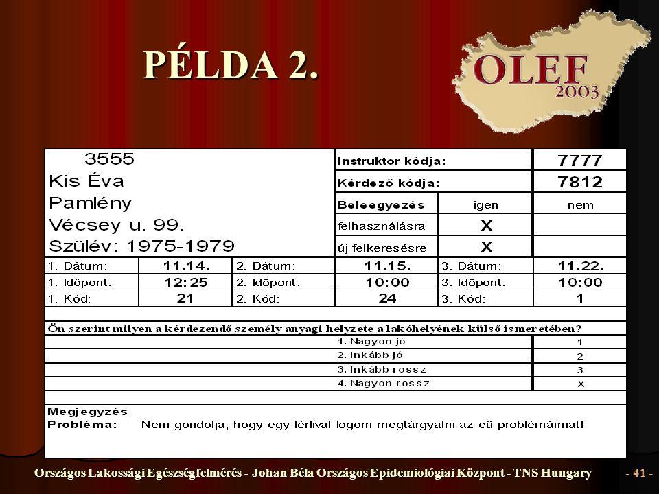 Országos Lakossági Egészségfelmérés - Johan Béla Országos Epidemiológiai Központ - TNS Hungary- 41 - PÉLDA 2.