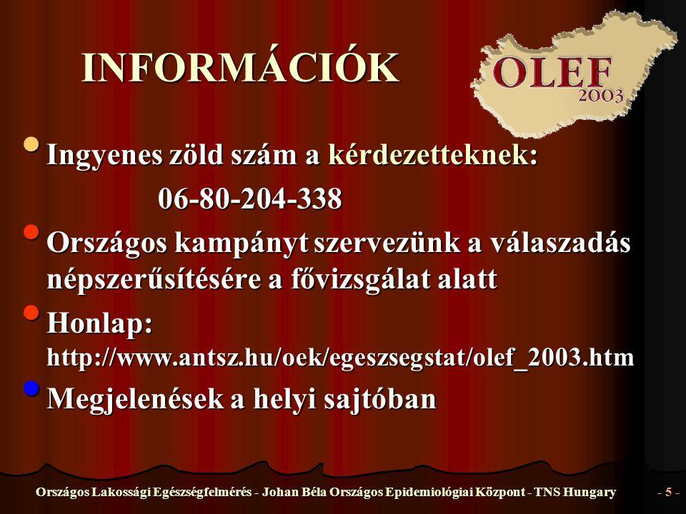 Országos Lakossági Egészségfelmérés - Johan Béla Országos Epidemiológiai Központ - TNS Hungary- 5 - INFORMÁCIÓK • Ingyenes • Ingyenes zöld szám a kérd