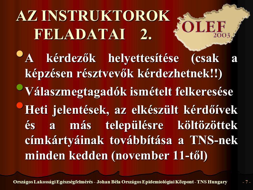 Országos Lakossági Egészségfelmérés - Johan Béla Országos Epidemiológiai Központ - TNS Hungary- 8 - A KÉRDEZŐK FELADATAI 1.