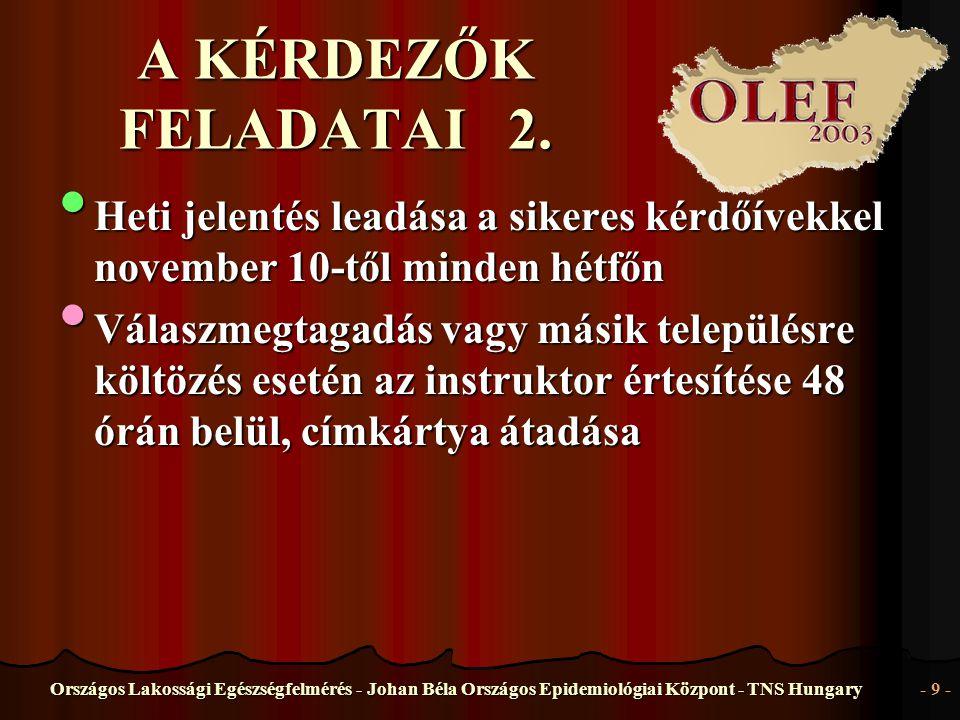 Országos Lakossági Egészségfelmérés - Johan Béla Országos Epidemiológiai Központ - TNS Hungary- 9 - A KÉRDEZŐK FELADATAI 2. • Heti • Heti jelentés lea