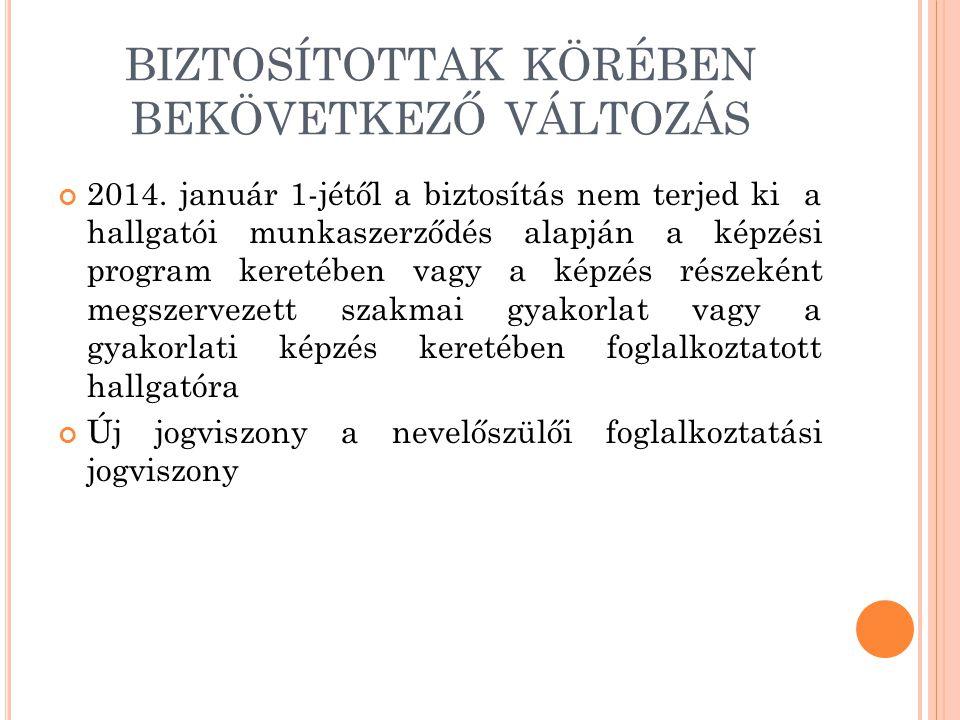 BIZTOSÍTOTTAK KÖRÉBEN BEKÖVETKEZŐ VÁLTOZÁS 2014. január 1-jétől a biztosítás nem terjed ki a hallgatói munkaszerződés alapján a képzési program kereté
