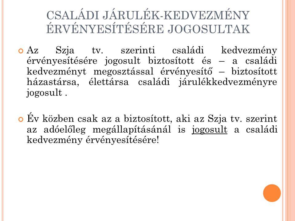 CSALÁDI JÁRULÉK-KEDVEZMÉNY ÉRVÉNYESÍTÉSÉRE JOGOSULTAK Az Szja tv. szerinti családi kedvezmény érvényesítésére jogosult biztosított és – a családi kedv