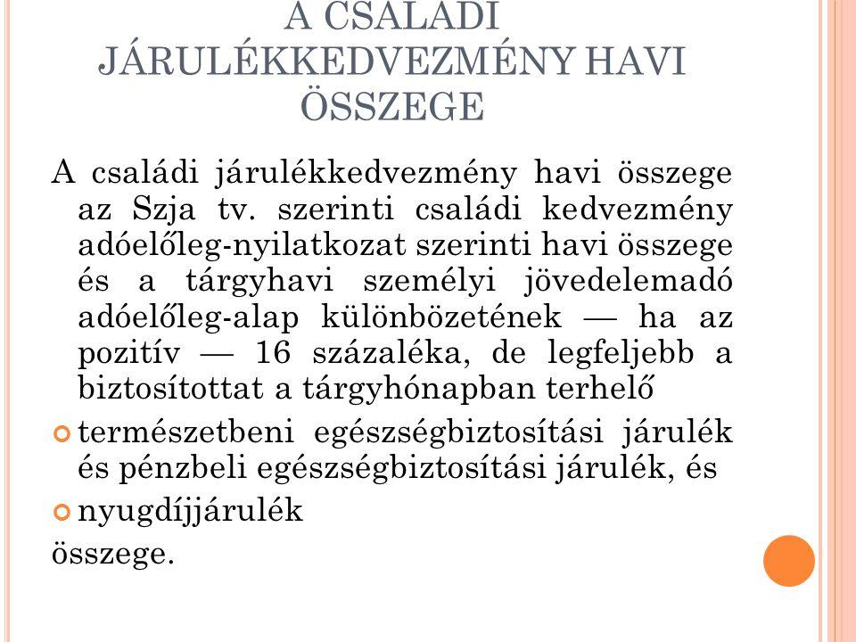 A CSALÁDI JÁRULÉKKEDVEZMÉNY HAVI ÖSSZEGE A családi járulékkedvezmény havi összege az Szja tv. szerinti családi kedvezmény adóelőleg-nyilatkozat szerin