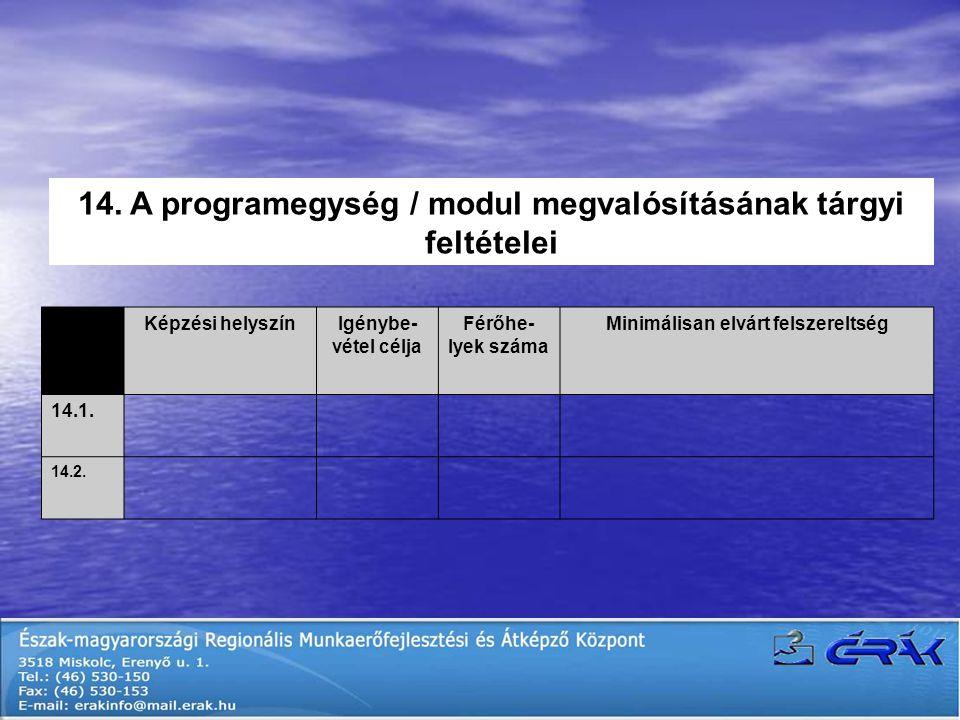 14. A programegység / modul megvalósításának tárgyi feltételei Képzési helyszínIgénybe- vétel célja Férőhe- lyek száma Minimálisan elvárt felszereltsé