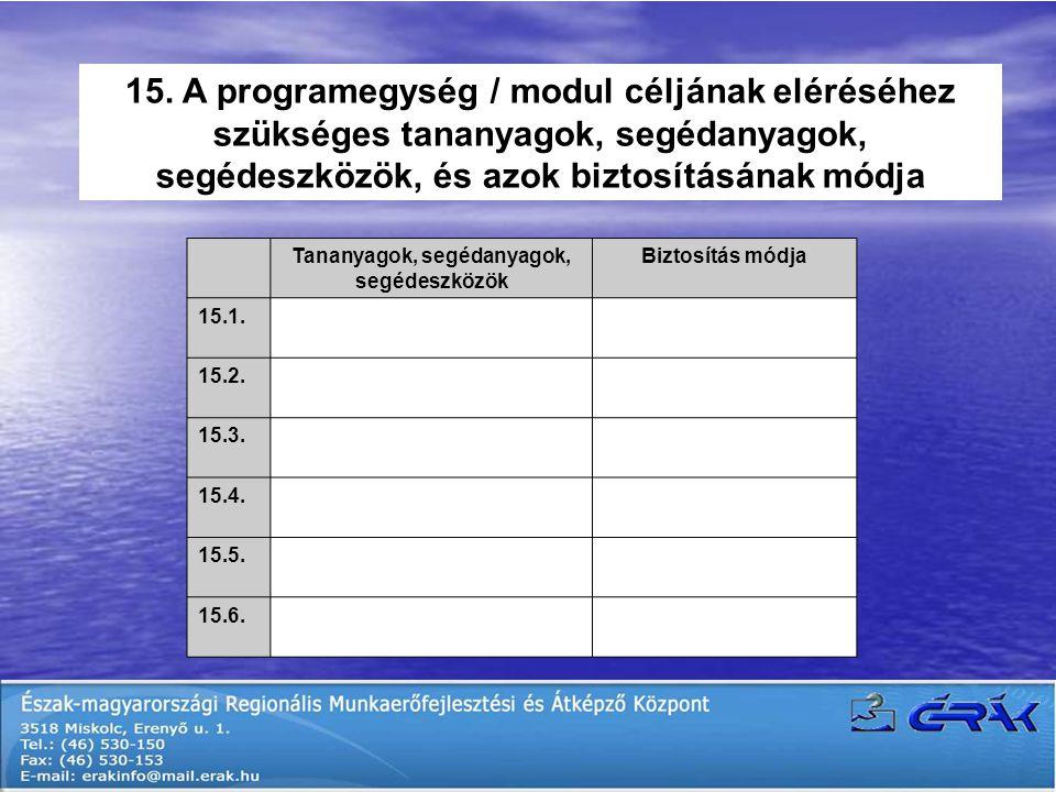 15. A programegység / modul céljának eléréséhez szükséges tananyagok, segédanyagok, segédeszközök, és azok biztosításának módja Tananyagok, segédanyag