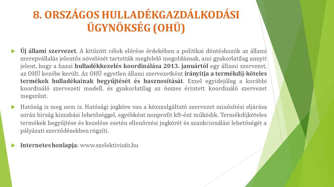 8. ORSZÁGOS HULLADÉKGAZDÁLKODÁSI ÜGYNÖKSÉG (OHÜ)  Új állami szervezet. A kitűzött célok elérése érdekében a politikai döntéshozók az állami szerepvál