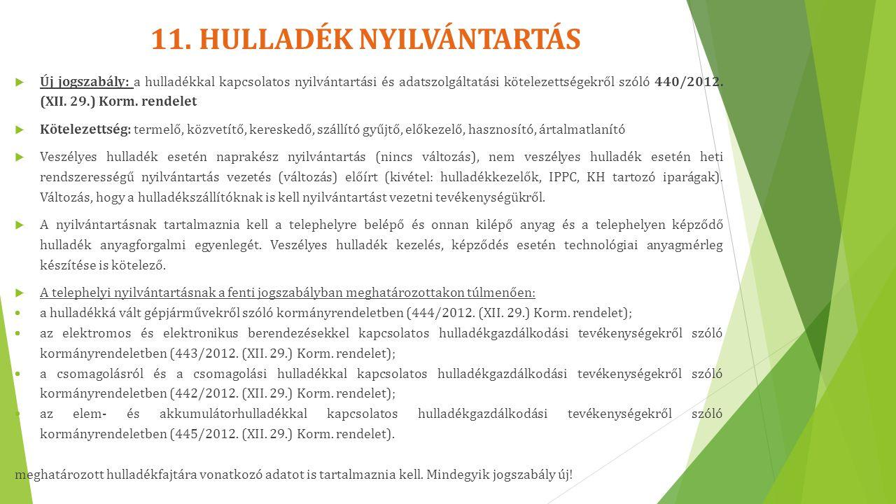 11. HULLADÉK NYILVÁNTARTÁS  Új jogszabály: a hulladékkal kapcsolatos nyilvántartási és adatszolgáltatási kötelezettségekről szóló 440/2012. (XII. 29.