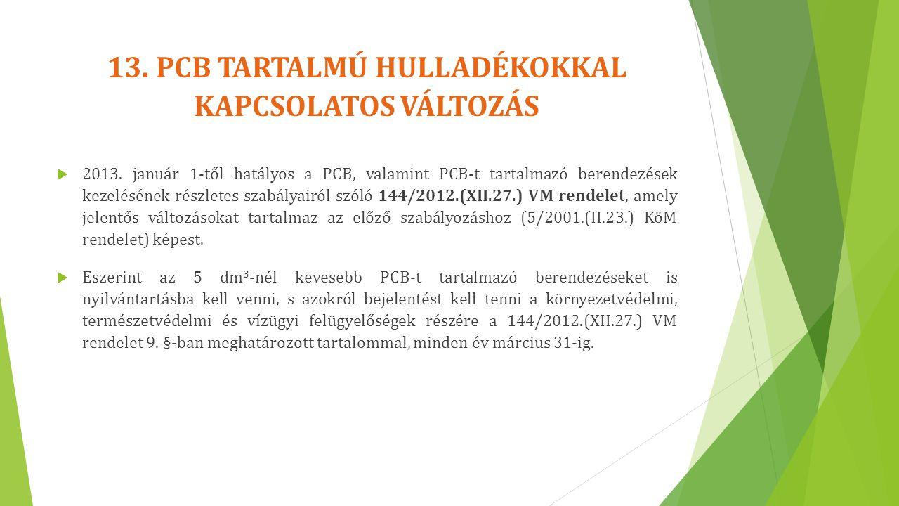13. PCB TARTALMÚ HULLADÉKOKKAL KAPCSOLATOS VÁLTOZÁS  2013. január 1-től hatályos a PCB, valamint PCB-t tartalmazó berendezések kezelésének részletes