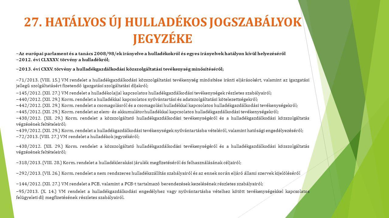 27. HATÁLYOS ÚJ HULLADÉKOS JOGSZABÁLYOK JEGYZÉKE ‒ Az európai parlament és a tanács 2008/98/ek irányelve a hulladékokról és egyes irányelvek hatályon