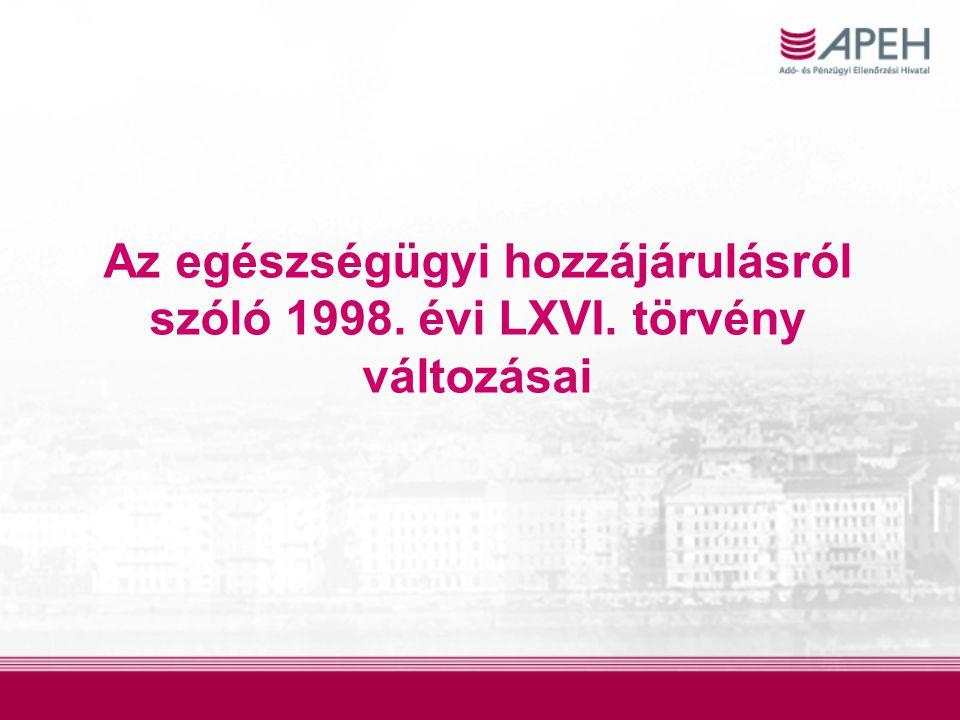 Az egészségügyi hozzájárulásról szóló 1998. évi LXVI. törvény változásai