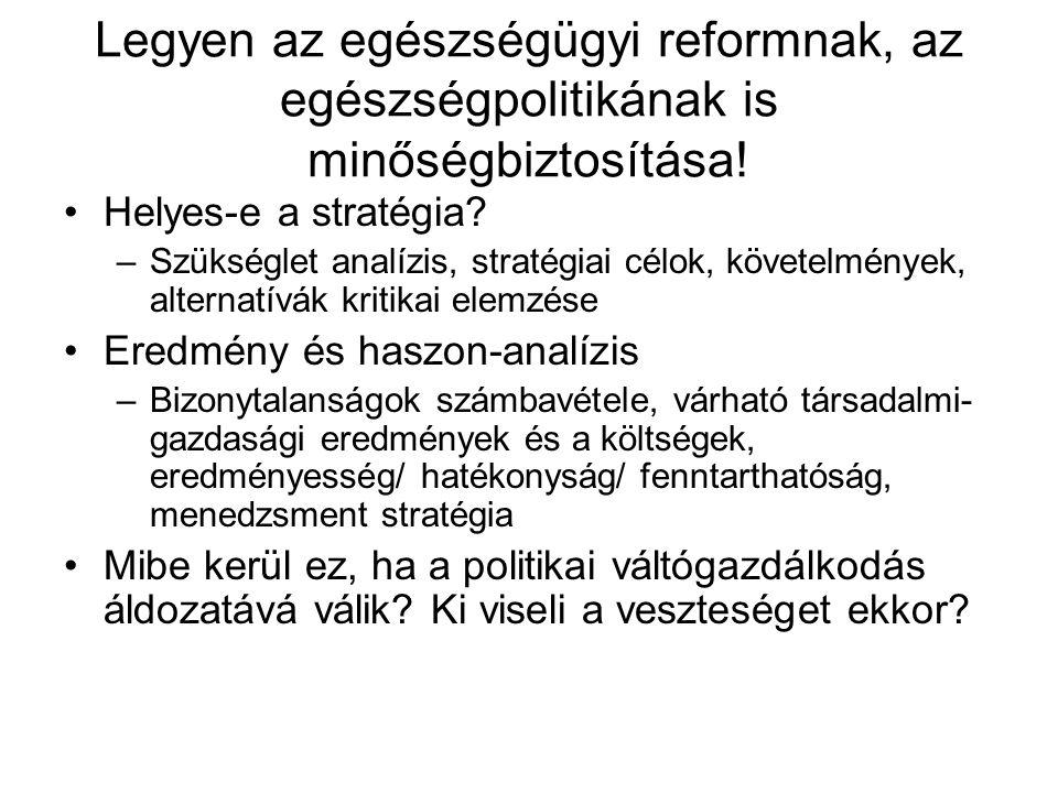 Legyen az egészségügyi reformnak, az egészségpolitikának is minőségbiztosítása! •Helyes-e a stratégia? –Szükséglet analízis, stratégiai célok, követel