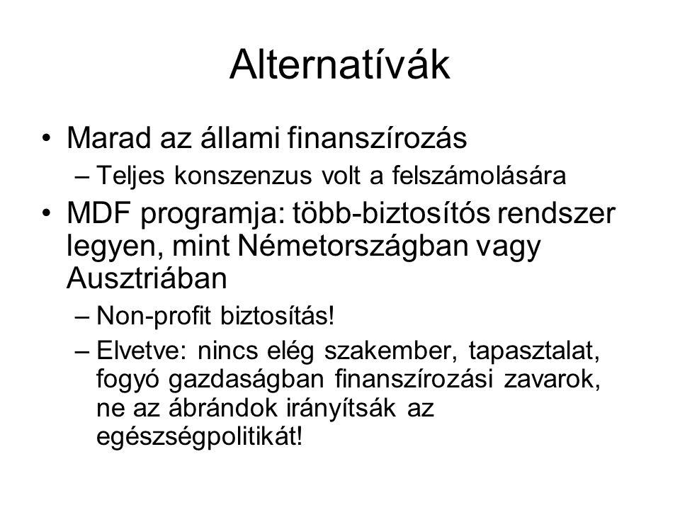 Alternatívák •Marad az állami finanszírozás –Teljes konszenzus volt a felszámolására •MDF programja: több-biztosítós rendszer legyen, mint Németország